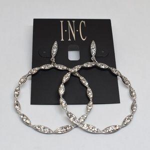 INC Silver tone Crystal Drop Hoop Earrings